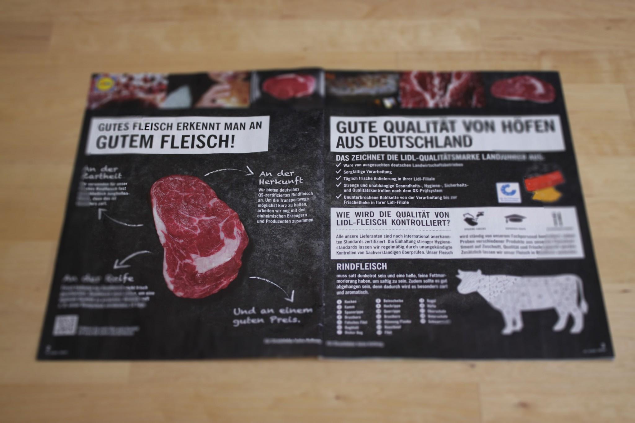 """Fotografie des Werbeprospektes von LIDL zum Thema """"Woran erkennt man gutes Fleisch?"""""""