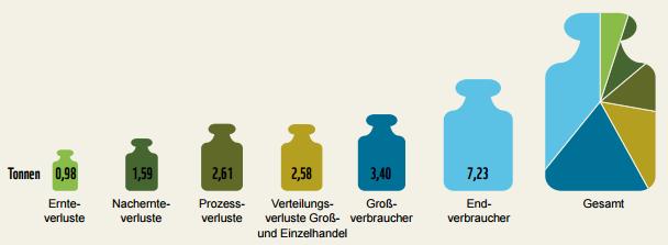 Lebensmittelverluste entlang der Wertschöpfungskette in Deutschland © WWF