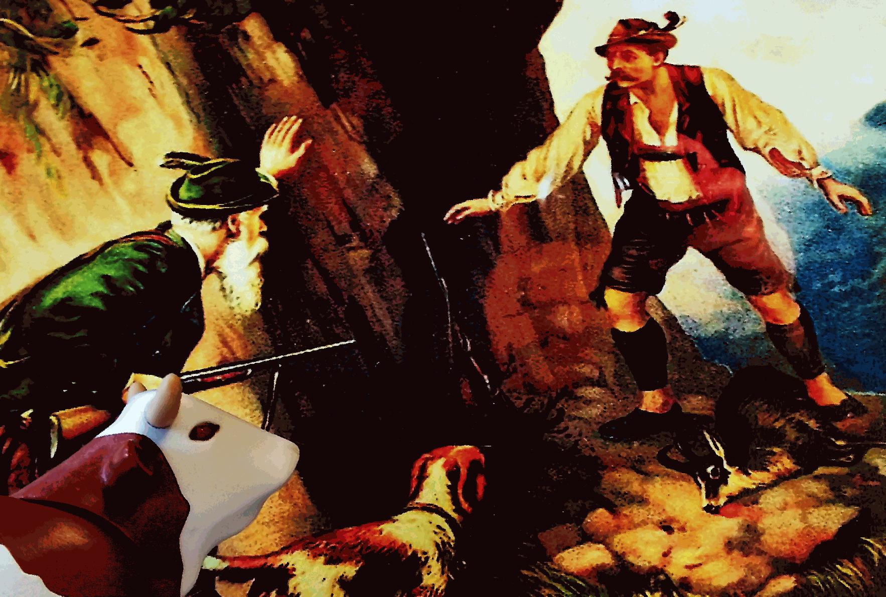 """Plastik-Kuh """"im Museum"""": schaut auf Wilderei-Bild."""