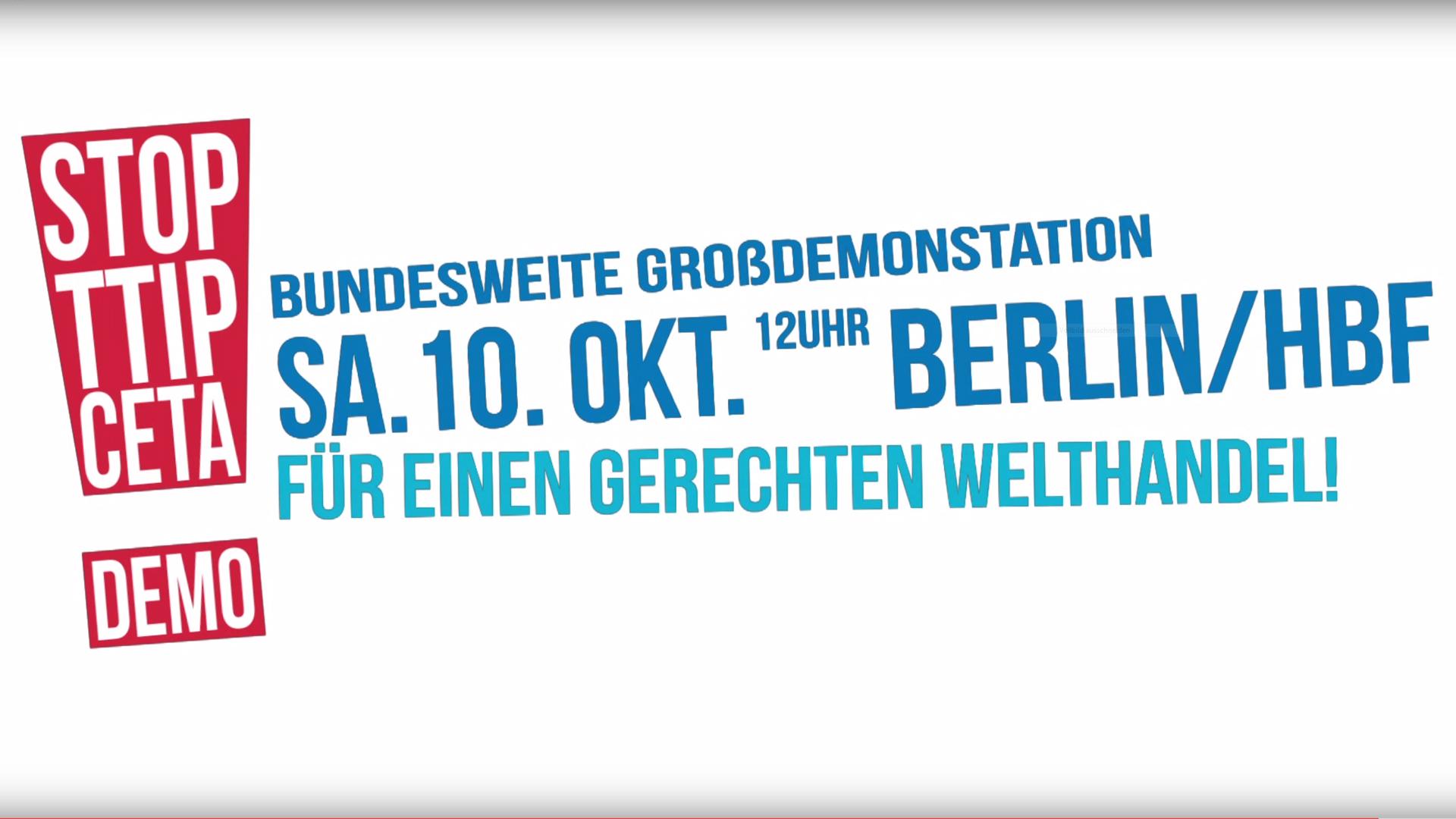 Der WWF ruft zur Demo gegen das Freihandelsabkommen TTIP auf © WWF