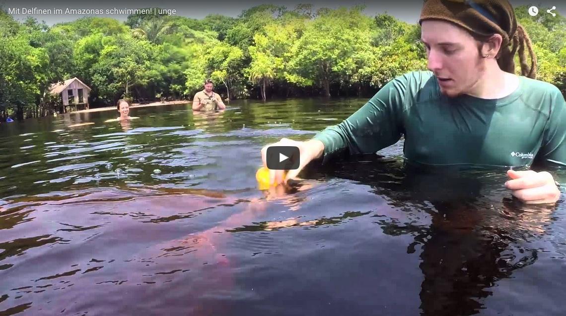 Screenshot von YouTube Video: Unge mit rosa Flussdelfin im Rio Negro