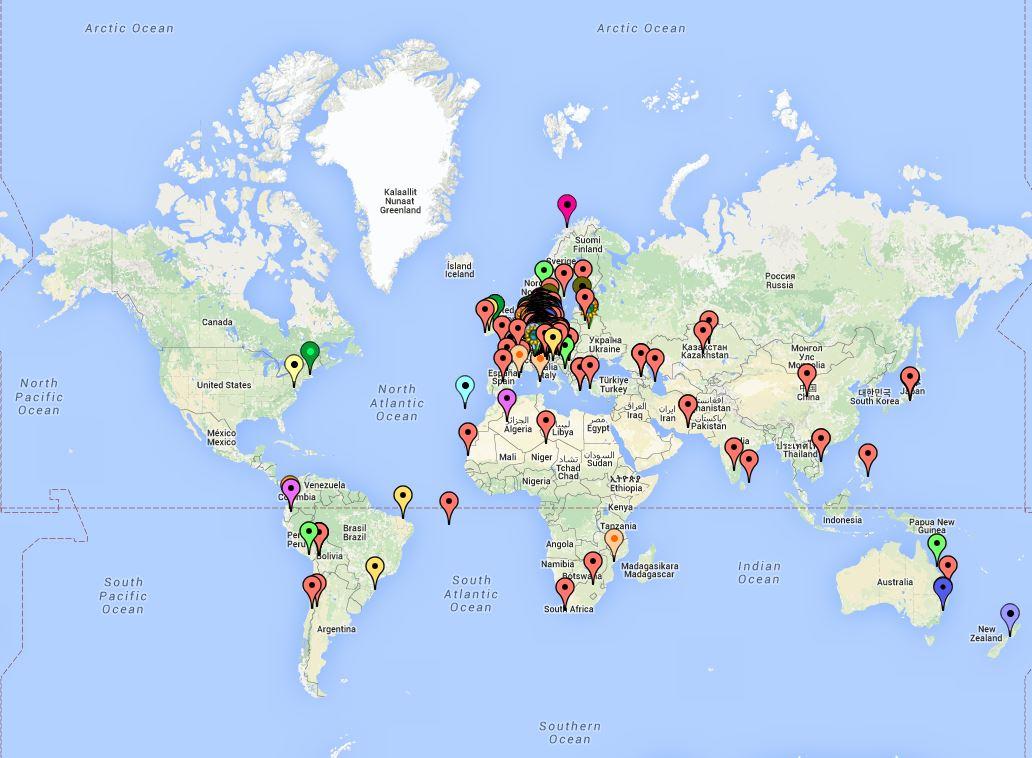 Weltkarte, auf der MOOC-TeilnehmerInnen markiert sind.
