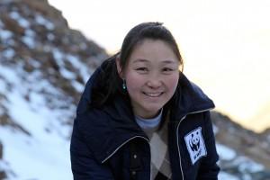 Mongolische Kollegin in Nahaufnahme: Altan vom WWF Mongolei.