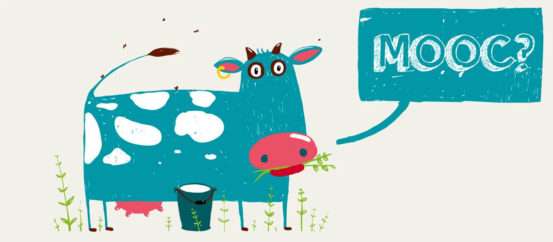 """Gezeichnete Kuh mit Sprechblase: """"MOOC""""."""
