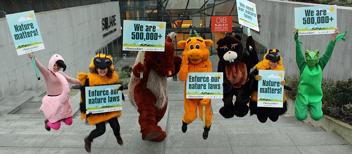 Protest in Brüssel anlässlich der Naturschutz-Konferenz der EU-Kommission.