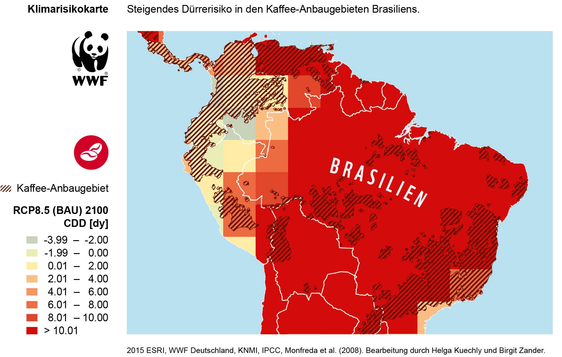 Klimarisiko-Karte: Steigendes Dürre-Risiko in den Kaffee-Anbaugebieten Brasiliens