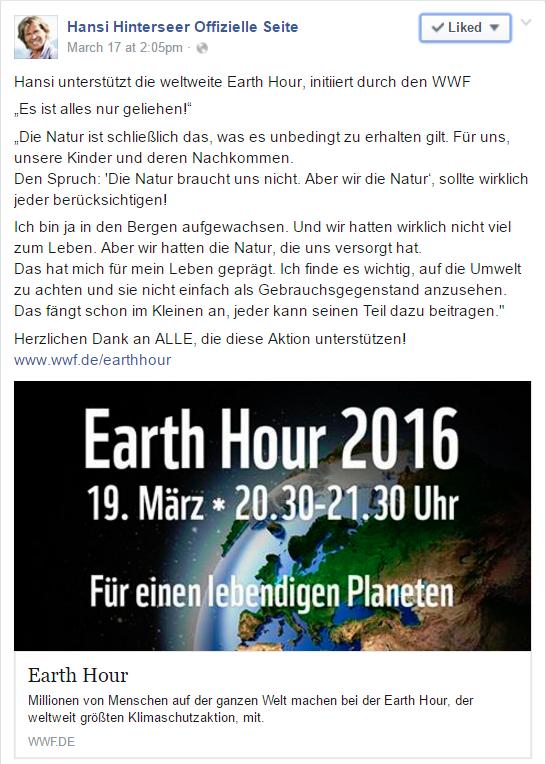 Facebook Post von Schlagerstar Hansi Hinterseer zur Earth Hour 2016