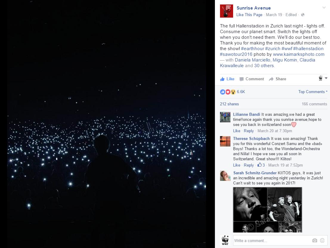 Facebook Post von der Band Sunrise Avenue zur Earth Hour 2016