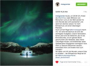Fotobeitrag für die Instagram Aktion #meinlebendigerPlanet zur Earth Hour. Motiv: Nordlichter