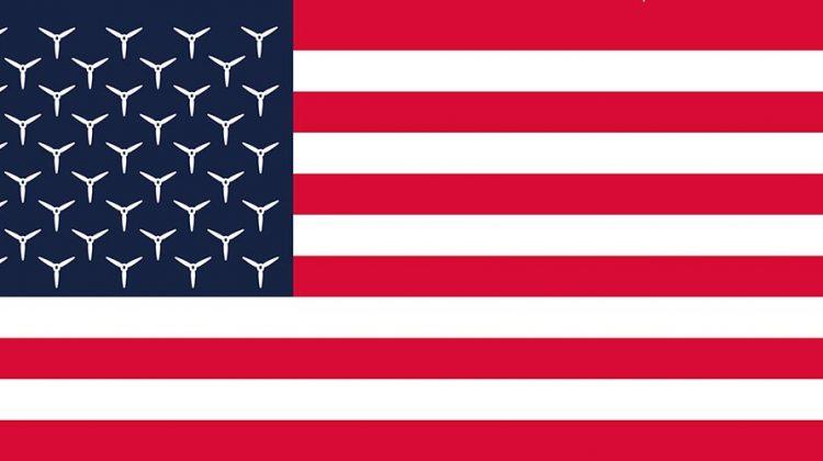 Symbol für die Energiewende: die amerikanische Flagge mit windrädern statt sternen, symbol für die Energiewende