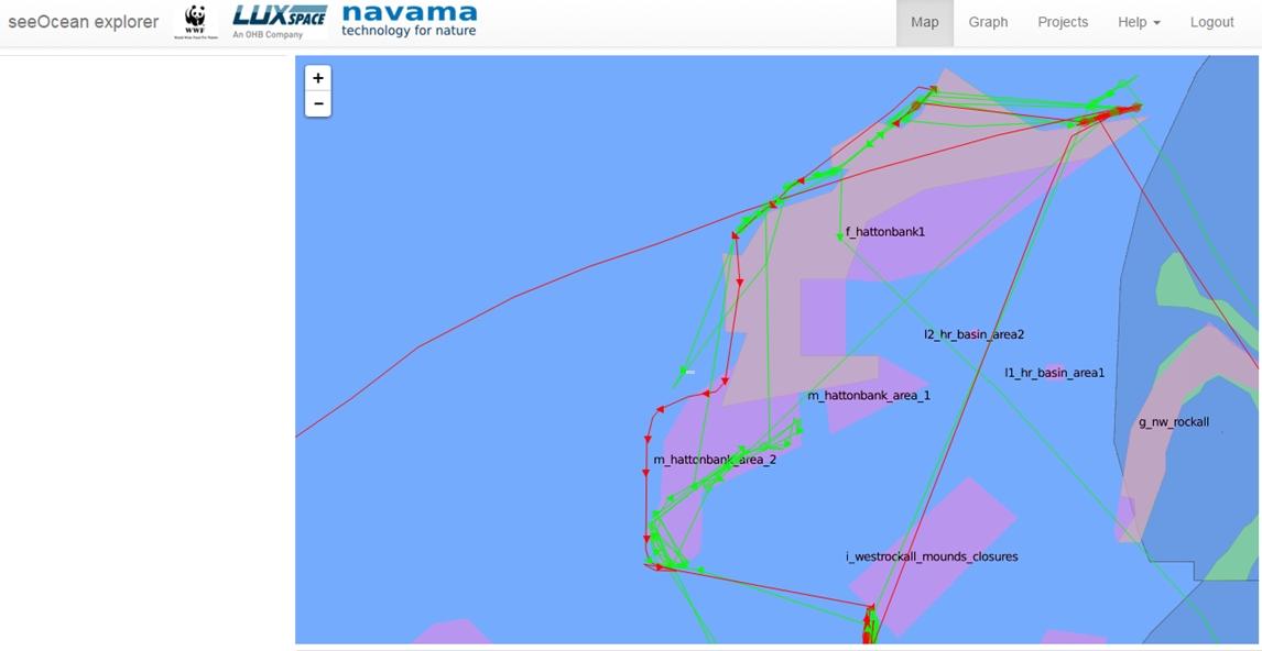 Satelliten Bild des MCS auf dem illegale fischerei westlich der britischen insel in geschützten Gebieten zu erkennen