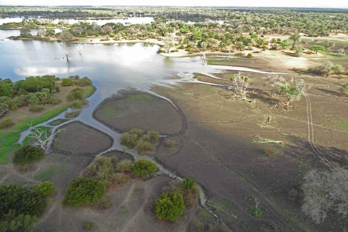 Auch das ist selous: Der Fluss Rufiji als Luftaufnahme