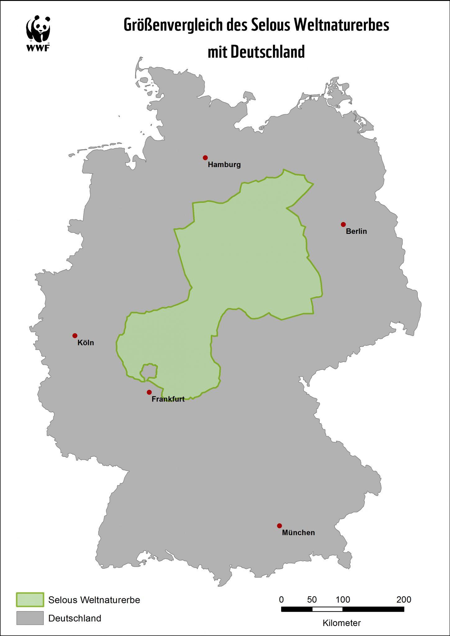 Größenvergleich: Selous und Deutschland © WWF