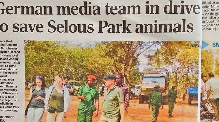 Save Selous: Zeitungsartikel über unsere reise mit den youttube stars jodie und kelly in Tansania