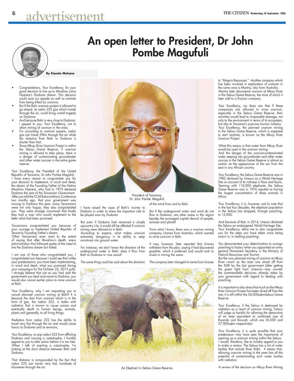 Retten Sie Selous! Offener Brief an den tansanischen Präsidenten in der Zeitung The citizen