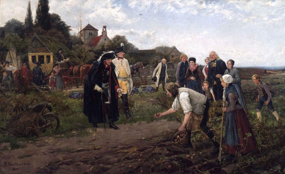 Der preußenkönig fördert die Kartoffel: Gemälde von Robert Müller (gen. Warthmüller, 1859-1895) Berlin, 1886
