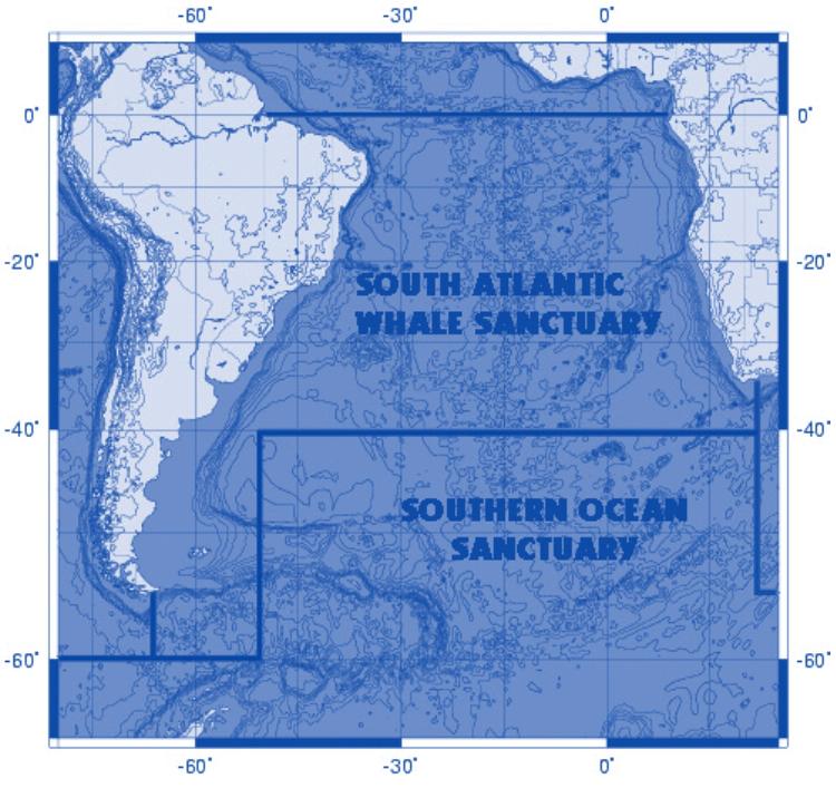 Wale sollen in diesem Walschutzgebite im Atlantik besonders geschützt sein, u.a. vor Walfang