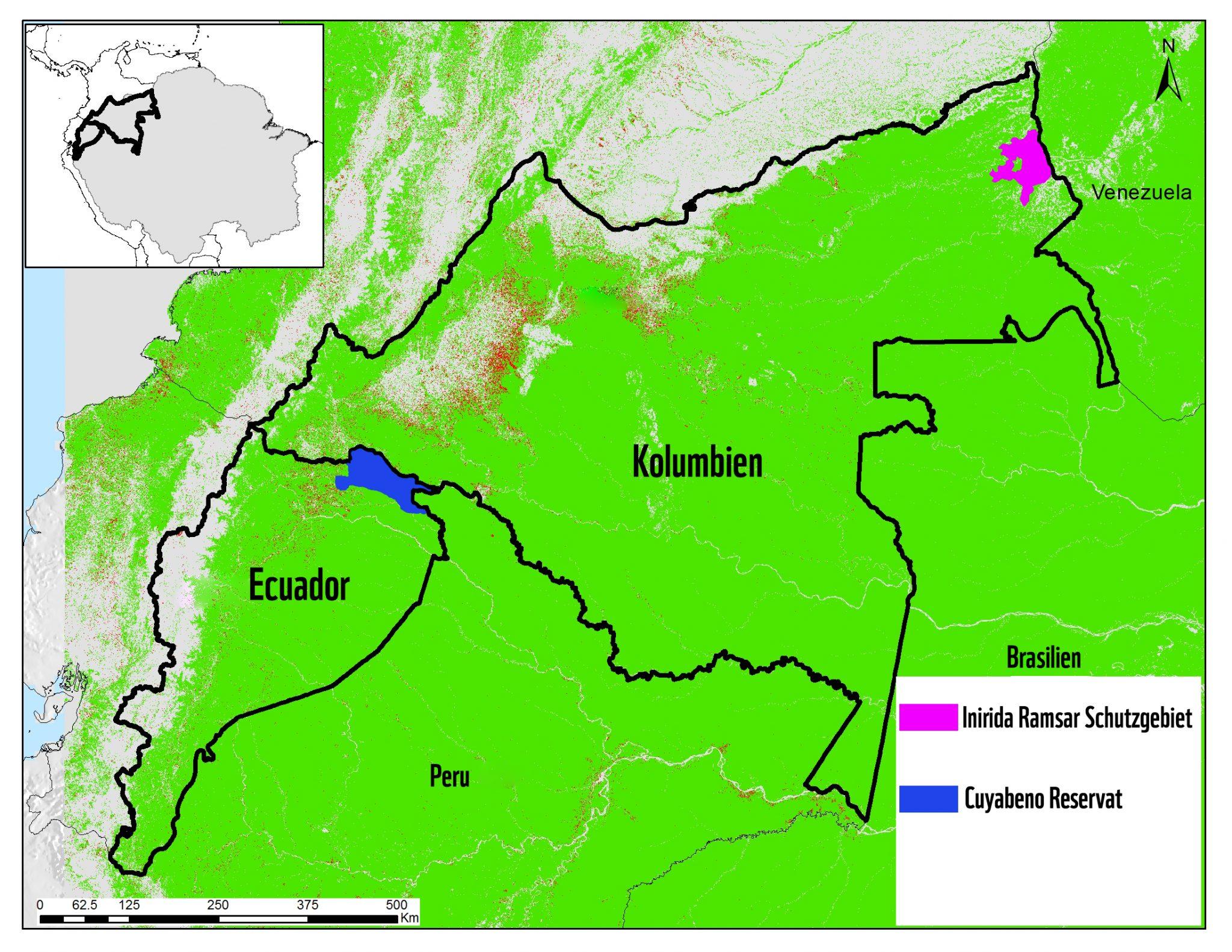 Schematische Karte Nord-Amazonas: Die Schutzgebiete in Kolumbien und Ecuador, in denen die schwarzen Jaguare in die Kamerafallen tappten.
