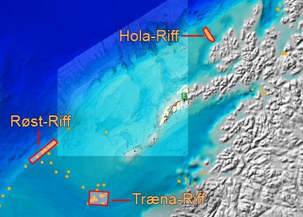 Vor den Lofoten soll nach Öl und Gas gebohrt werden. Drei Riffe in der Region. Karte.