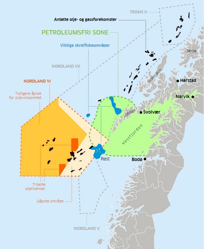 Karte mit Öl- und Gas-Konzessionen vor den Lofoten in Norwegen.