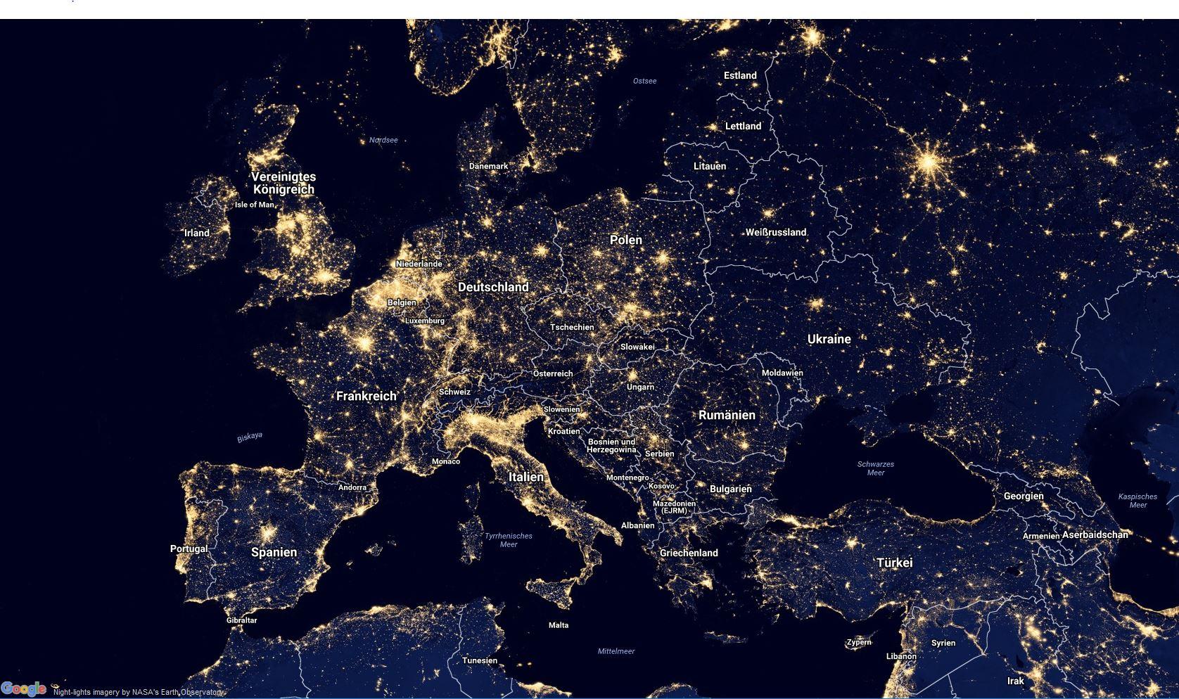 Europa bei Nacht © NASA
