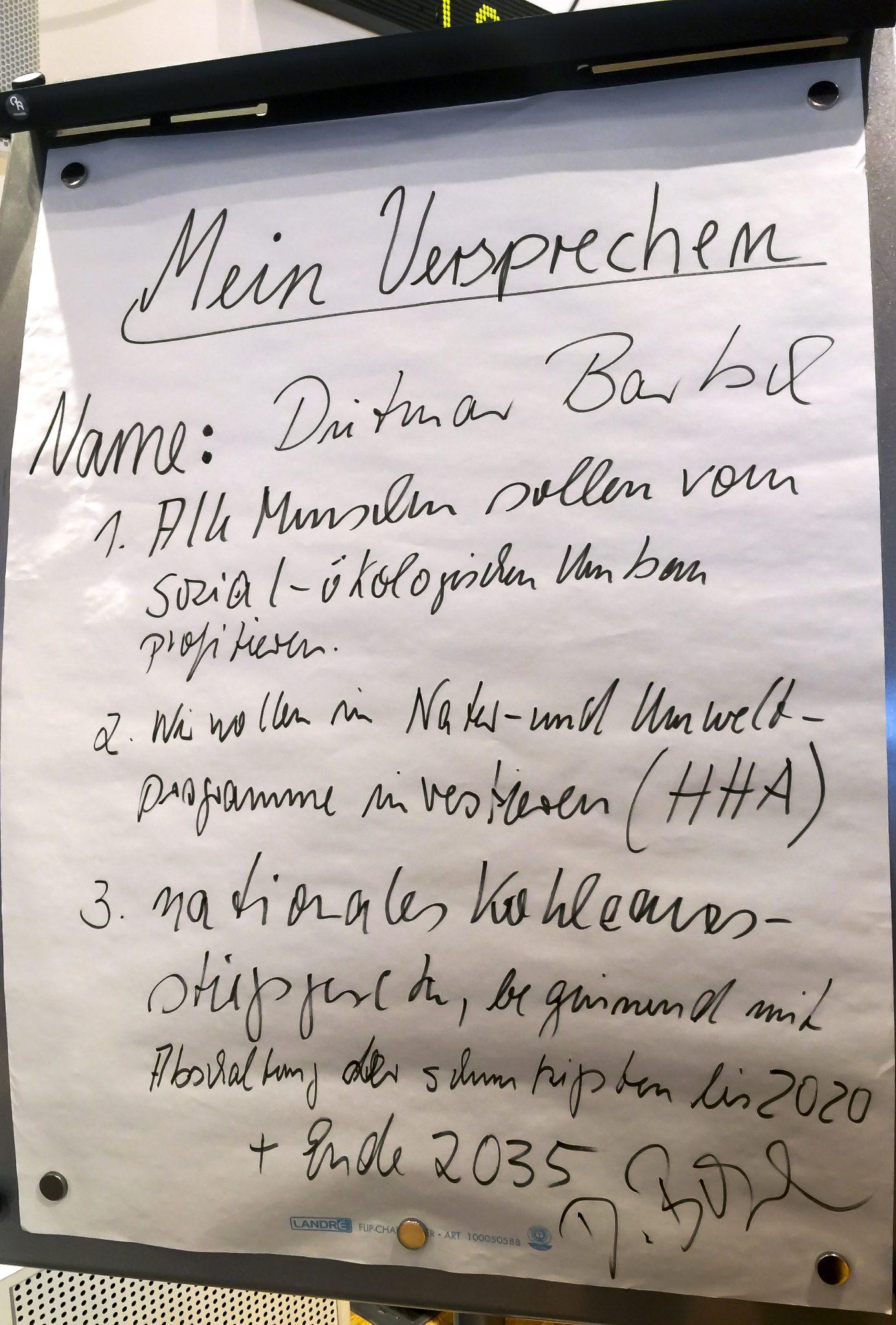Handschriftlich festgehalten: Die versprechen des Dietmar Bartsch an den WWF Deutschland © WWF Deutschland