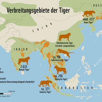 Tiger Verbreitung weltweit © WWF Deutschland