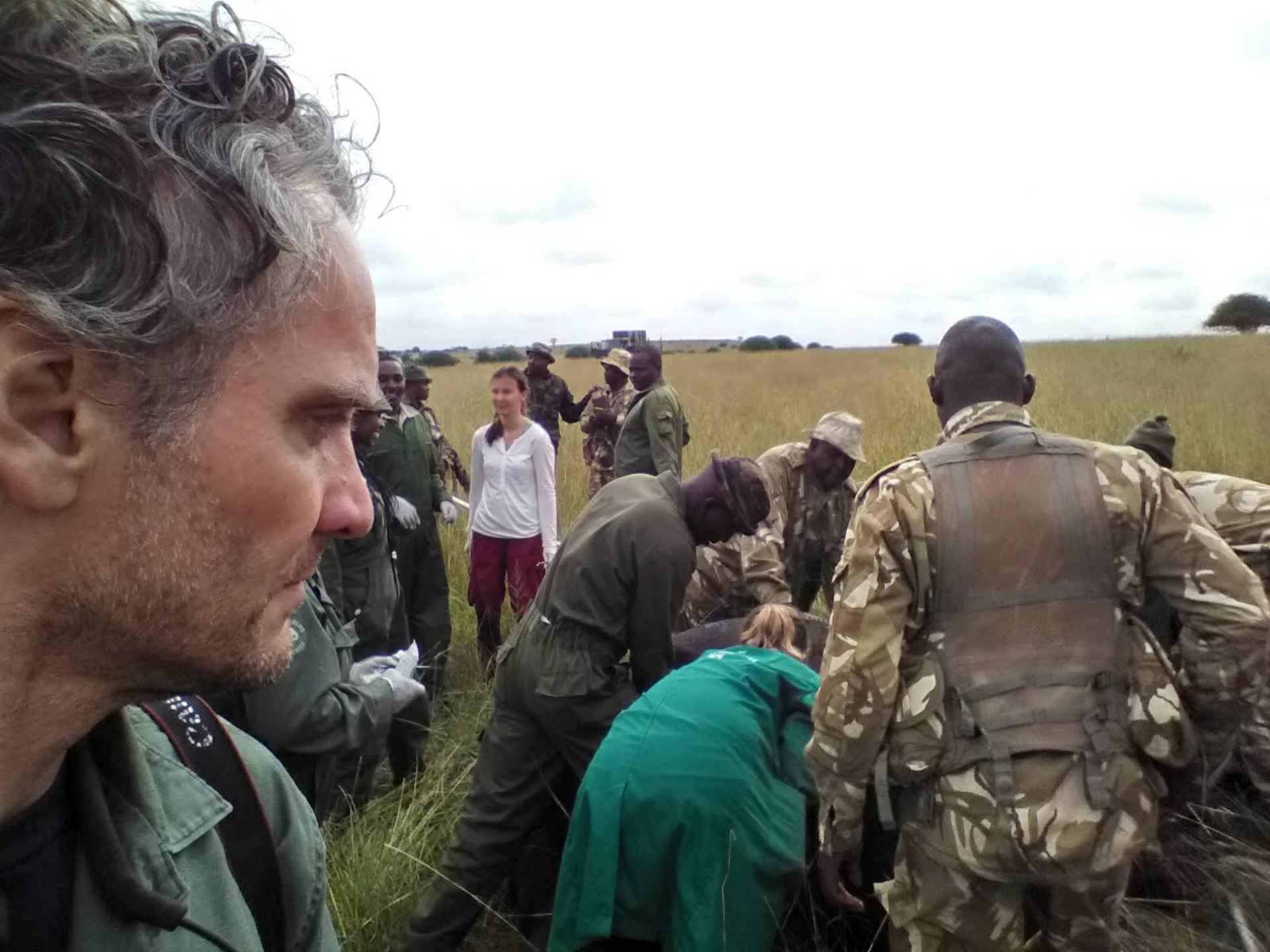 Phillipp Goeltenboth bei der Umsiedlung der Nashörner im Tsavo East Nationalpark in Kenia.