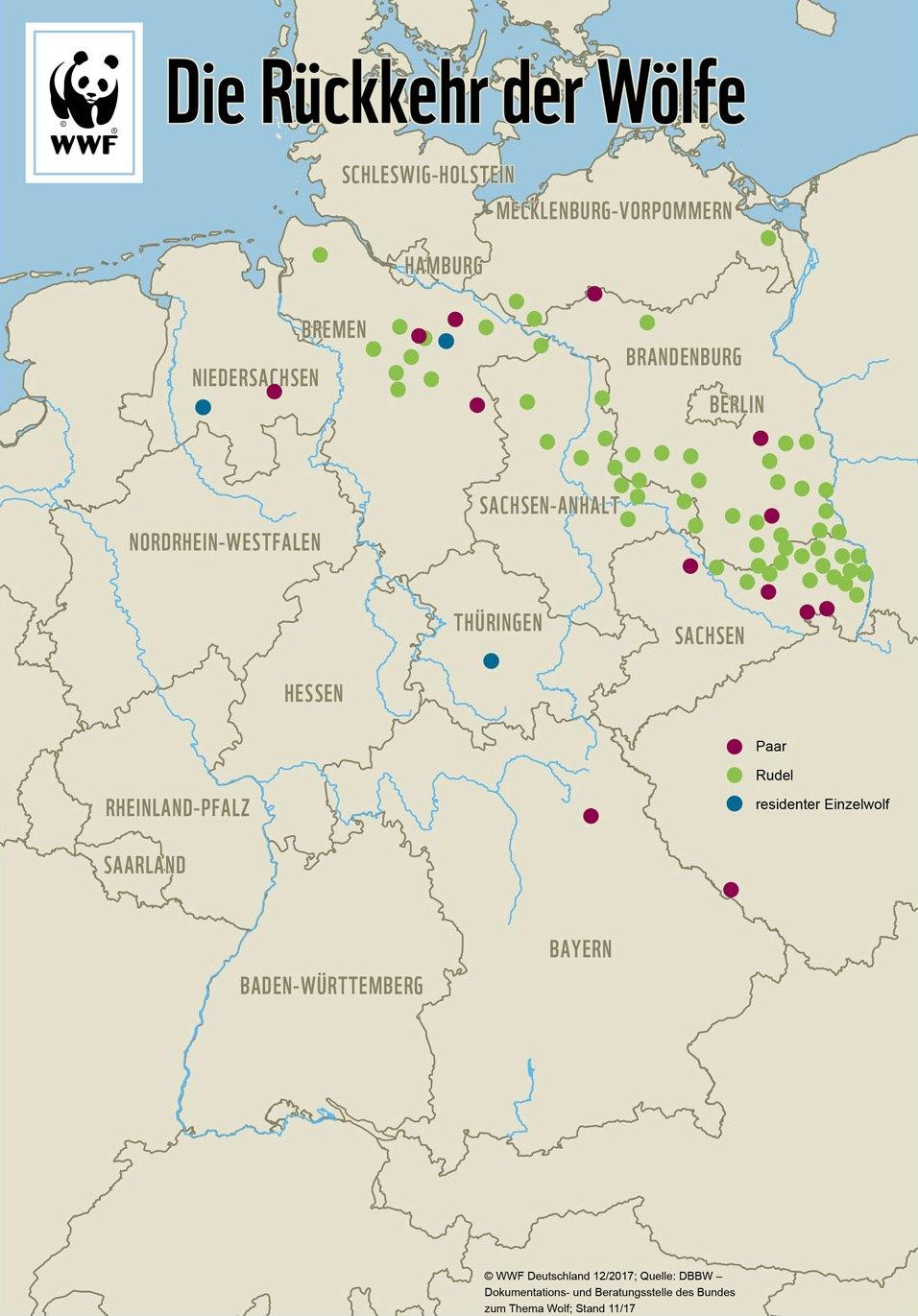 Karte wo lebt der Wolf in Deutschland