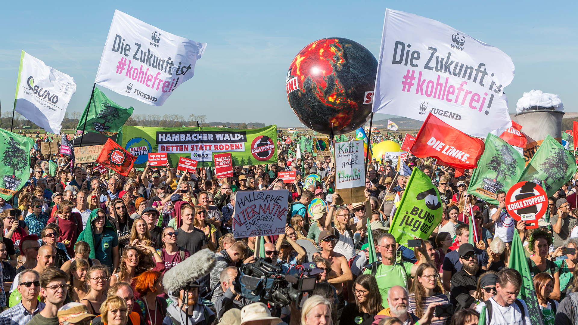 Die Proteste für den Erhalt des Hambacher Waldes werden 2018 zum Symbol der Anti-Kohle-Bewegung © Bernd Lauter / WWF