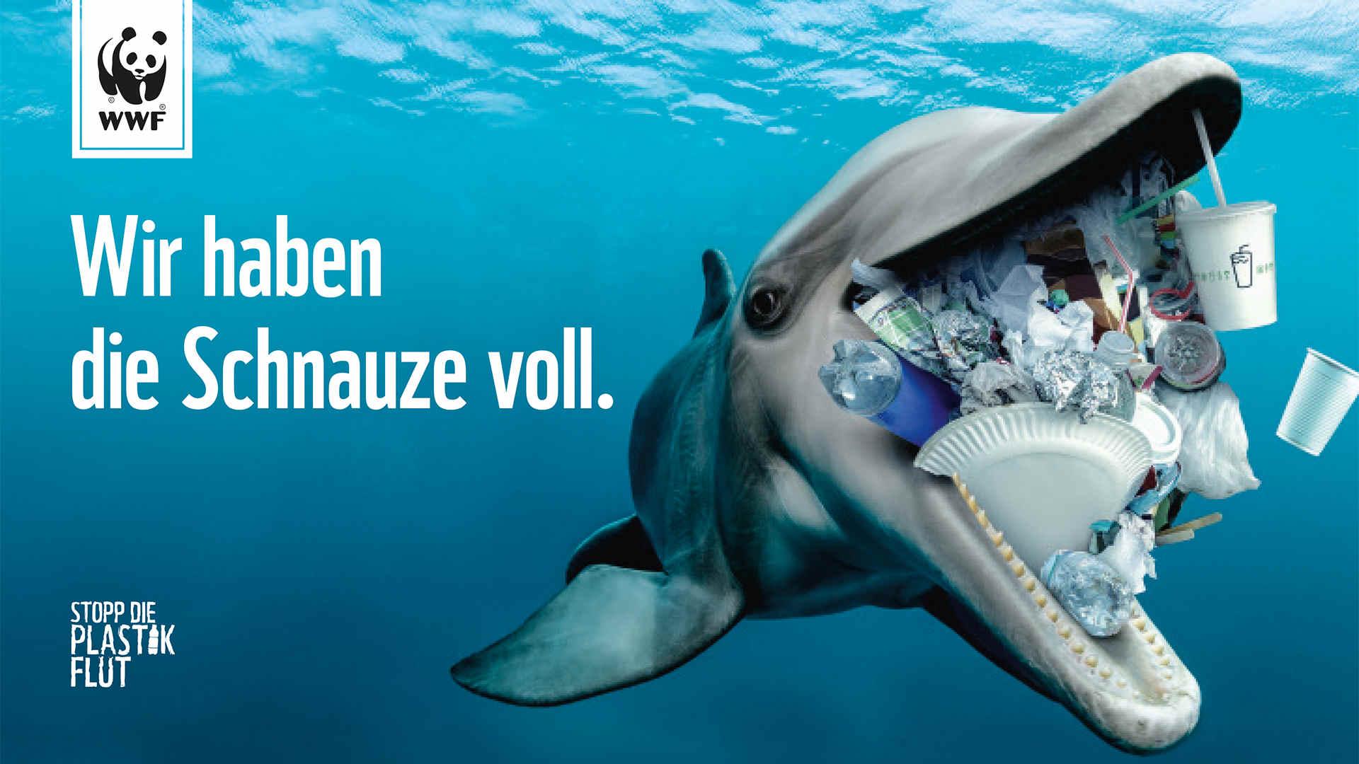 Delfin mit Plastikmüll Kampagne-WWF
