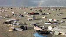 Container Unglück im Wattenmeer: Schuihe und mehr Müll am Strand