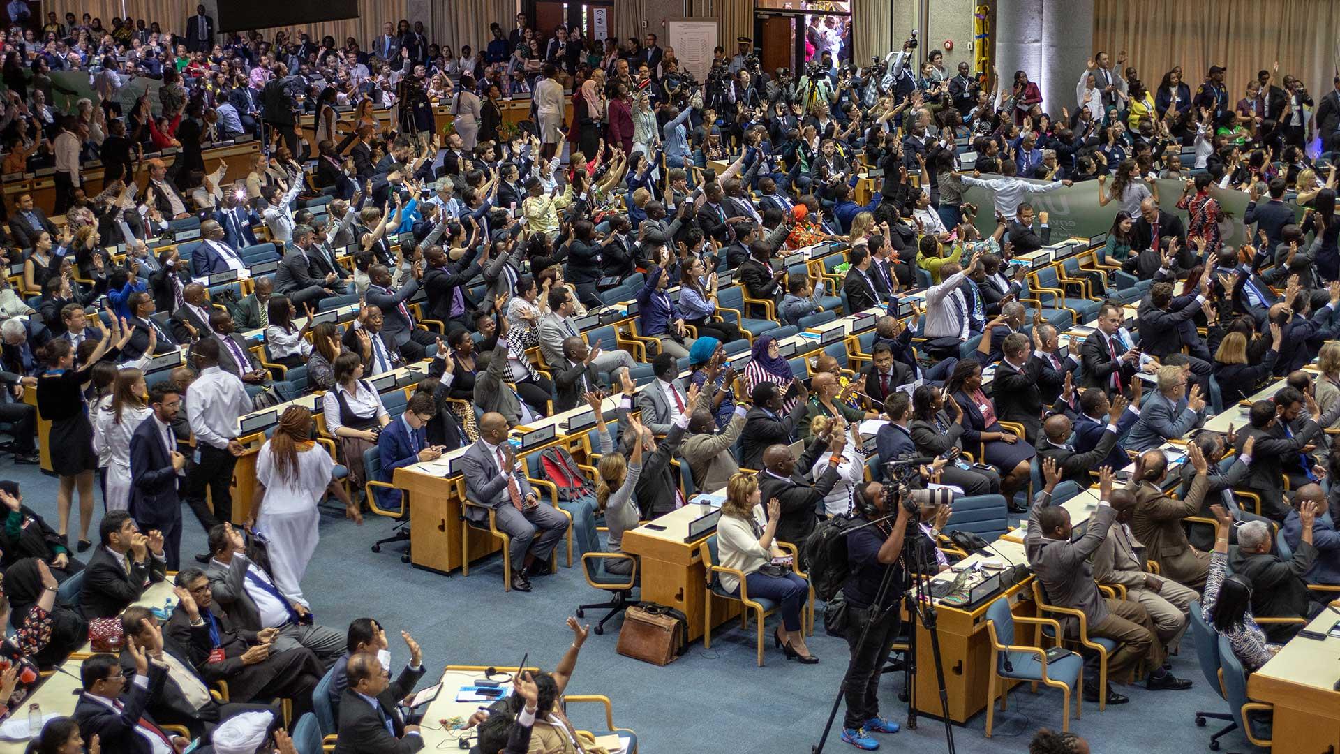 Die Länder-Delegierten im Plenum der UN Umweltversammlung 2019 © Markus Winkler / WWF