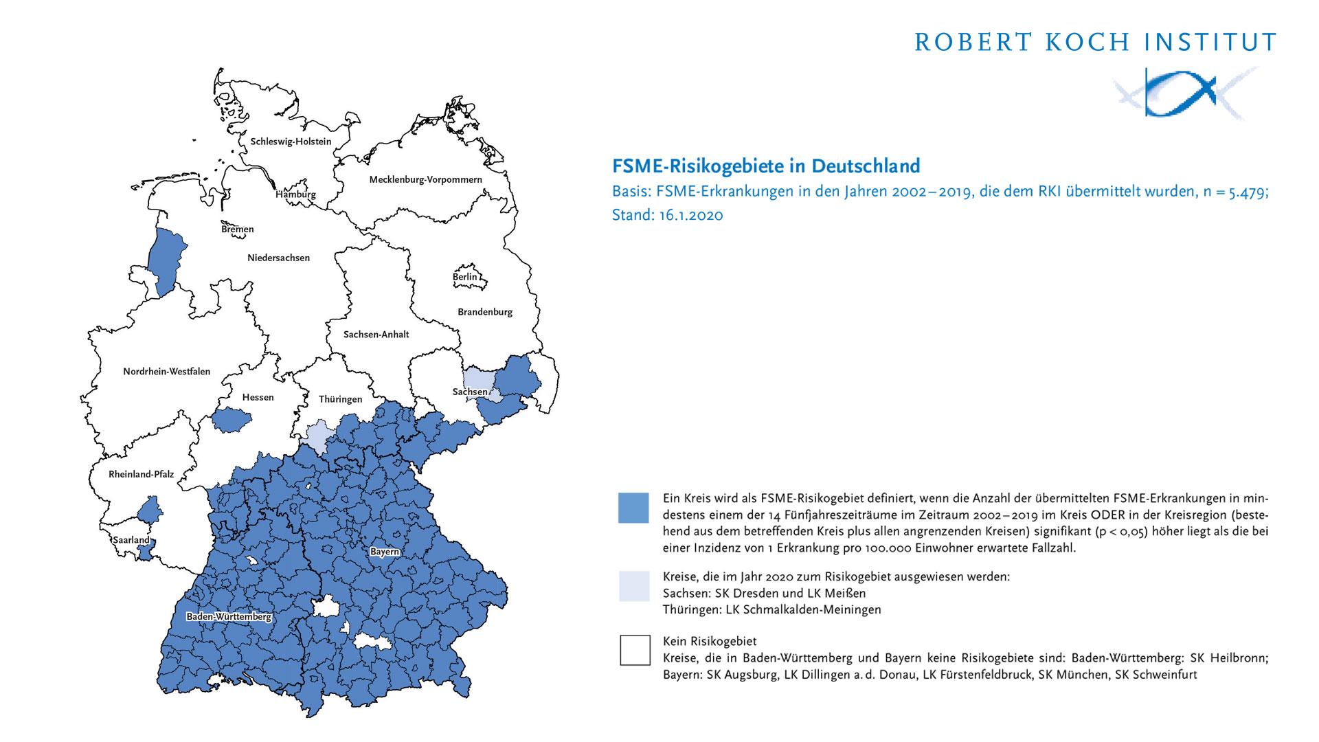 Zecken: FSME Gebiete in Deutschland laut RKI