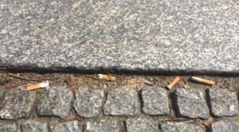 Rauchen und Umwelt: Zigarettenkippen auf dem Gehweg
