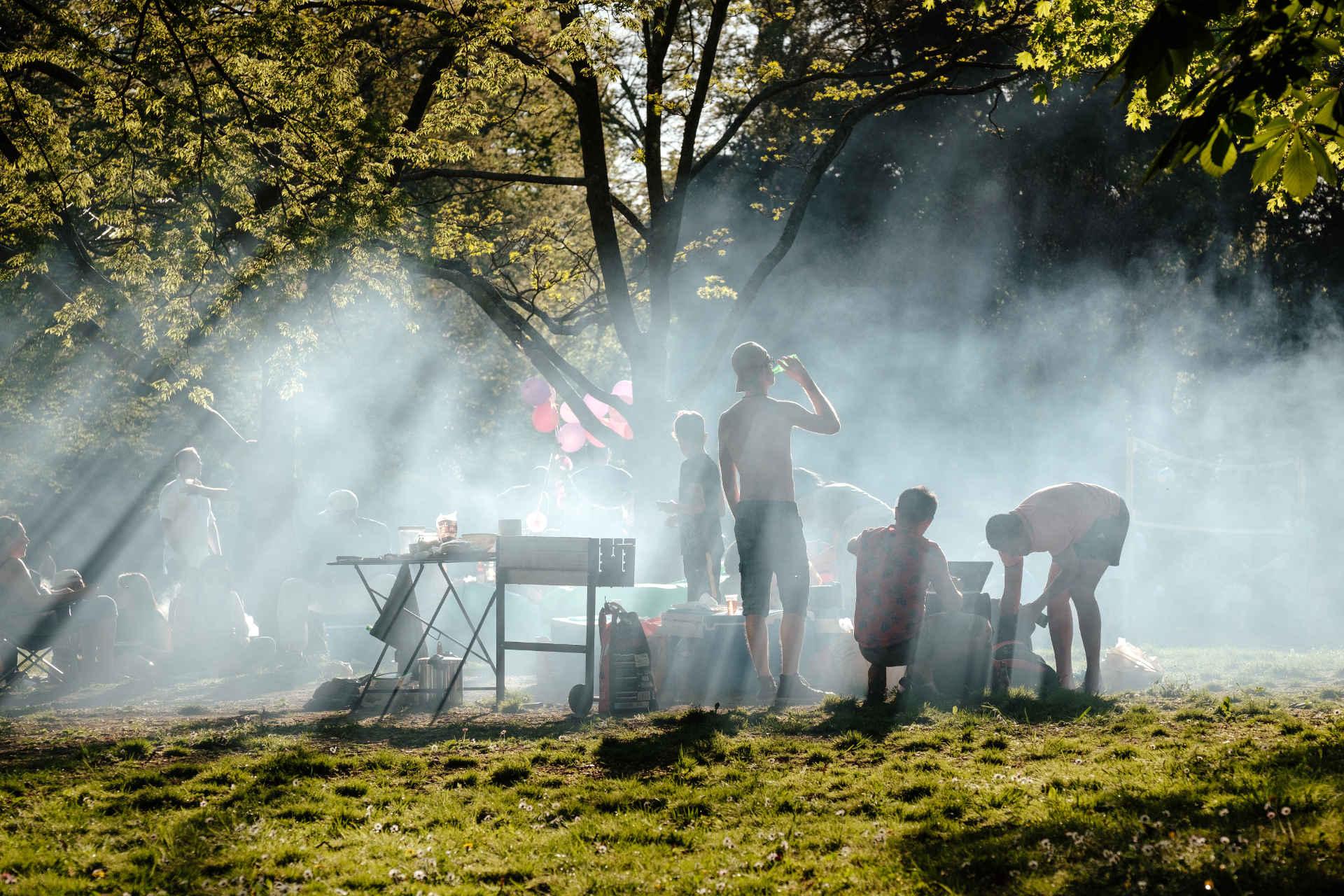 Grillen mit Grillkohle im Park