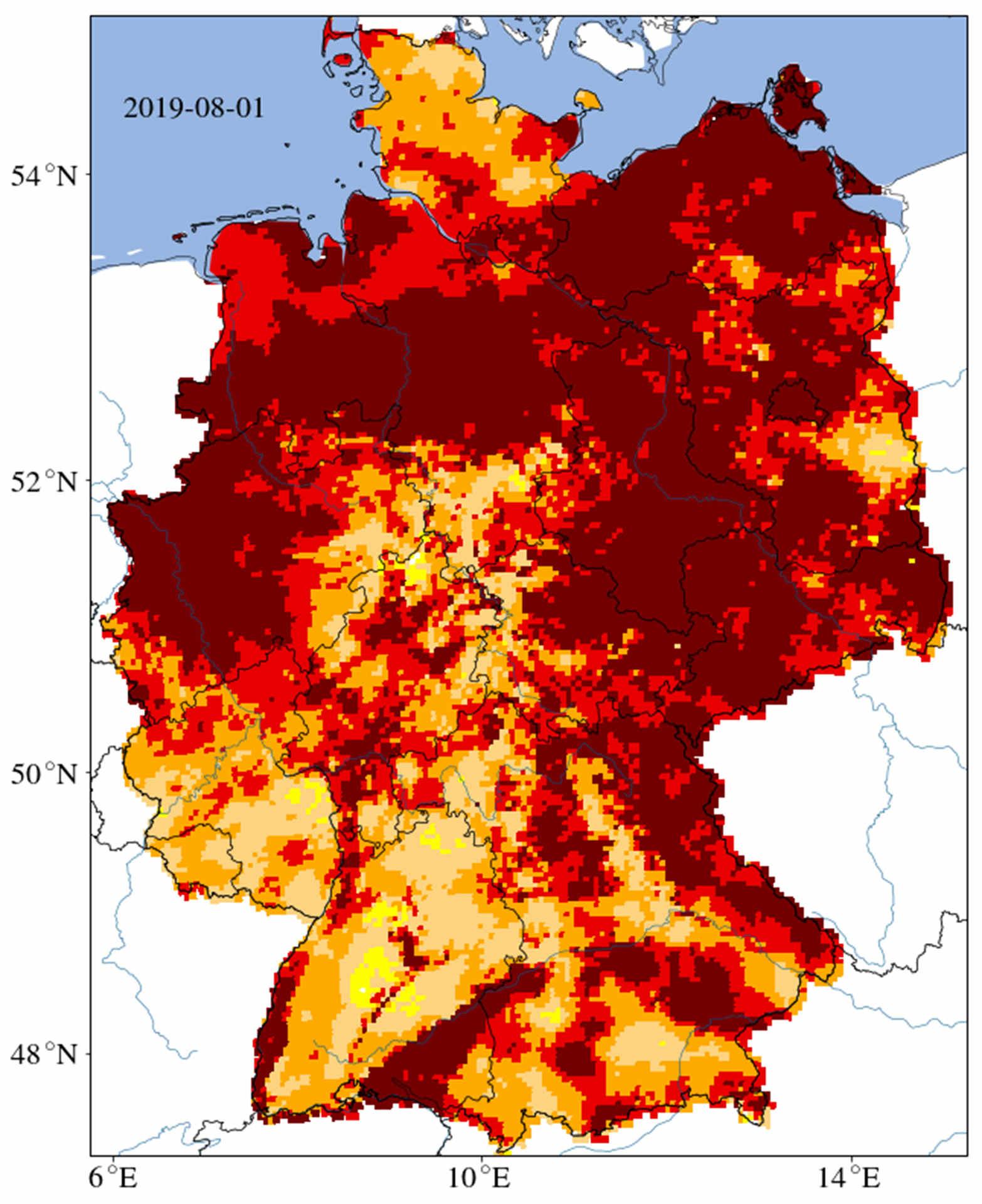 Dürre in Deutschland: Karte der Bodentrockenheit