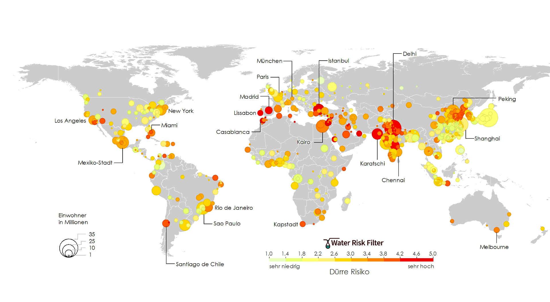 Dürre: Grafik über betroffene Millionenstädte