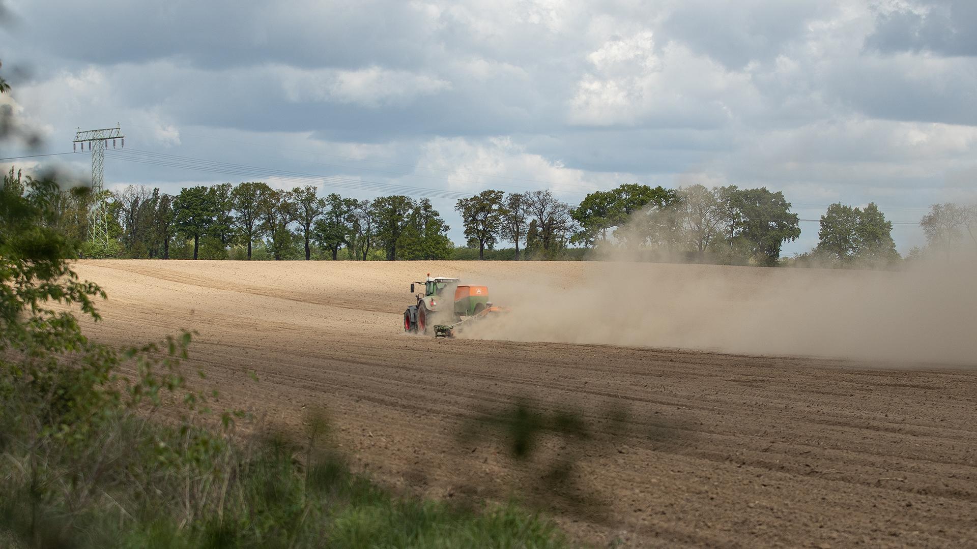 Dürre: Traktor mit Staubfahne